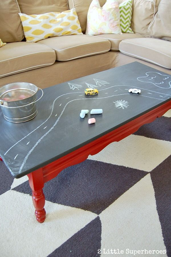 Paint a laminate coffee table with chalkboard table. Perfect for a playroom.
