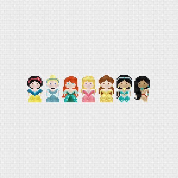 Disney Princess Basic Design Pack 01 Cross Stitch Pattern PDF Instant Download