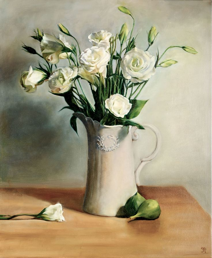 'Resting in the Moment', oil painting by Trish Mitchell.  White Lisianthus in a beautiful French Grey jug.