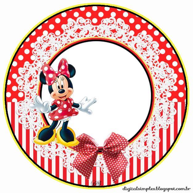 "Kit Custom Theme Birthday ""Minnie Red"" for Printing - Invitations Digital Simple"