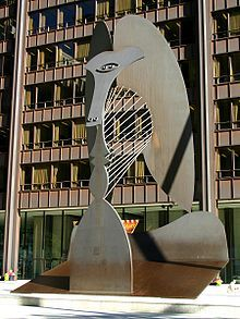 Picasso sculpture in Chicago, Illinois - the sculptor refused to be paid the 100,000 fee due him and donated it to the people of Chicago