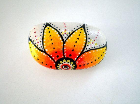 Lotus Sunflower Flower Handpainted Stone by ShebboDesign on Etsy, $25.00