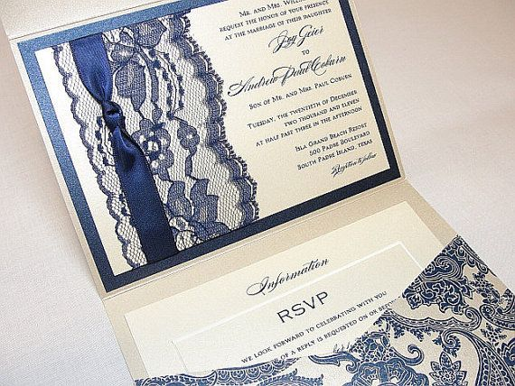 ANKA4 Lace Wedding Invitation Invite Vintage by LavenderPaperie1