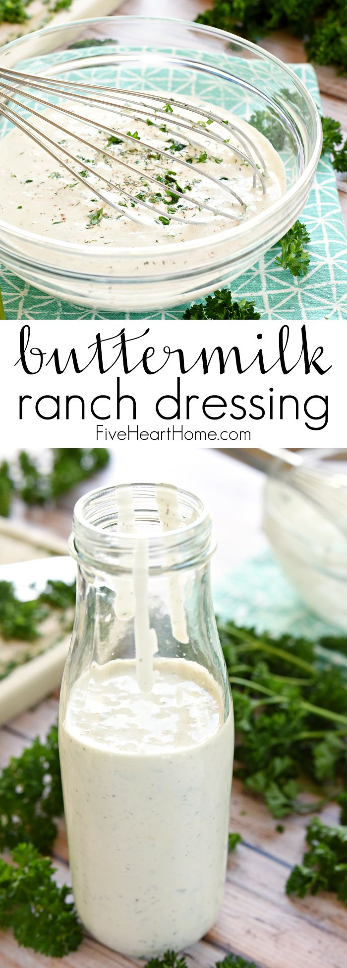 The BEST Homemade Buttermilk Ranch Dressing ~ all-natural, loaded with herbs, simple to make, and so good that you'll never go back to store-bought again! | FiveHeartHome.com