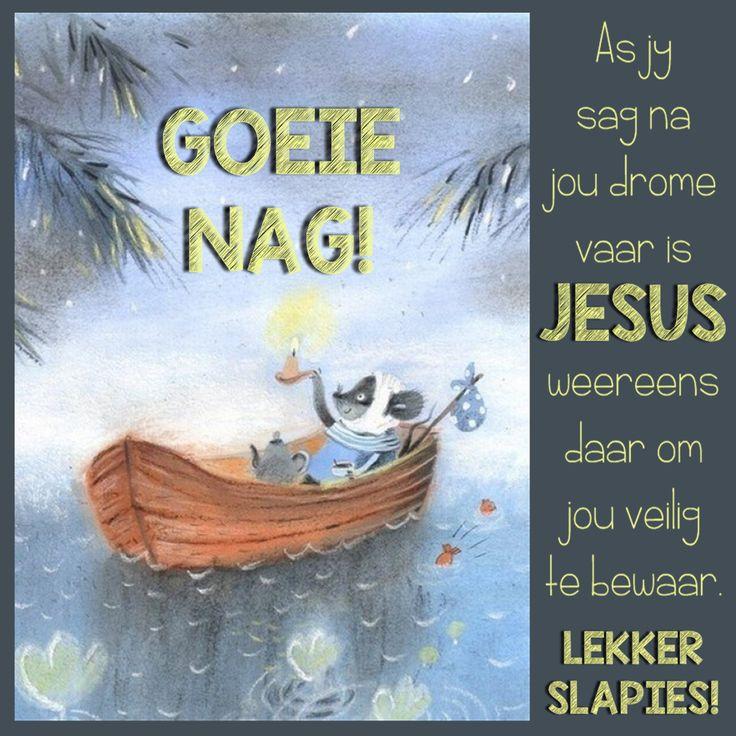 GOEIE NAG! As jy sag na jou drome vaar is JESUS weereens daar om jou veilig te bewaar. LEKKER SLAPIES!