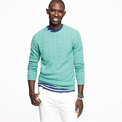 Think G would look so cute & classy in one of these casual cashmere cable crewnecks.