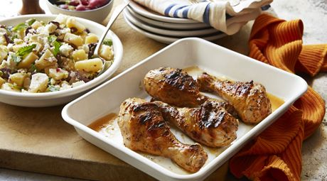 Barbequed Yoghurt-Marinated Drumsticks with Warm Greek Potato Salad
