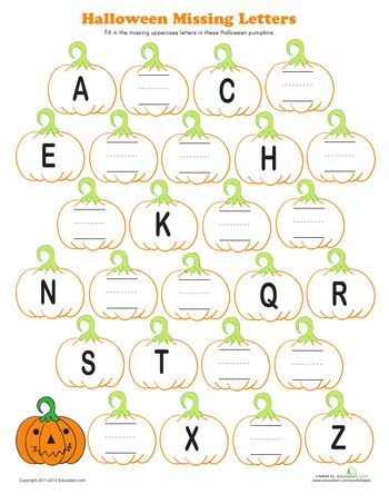 Worksheets: Halloween Alphabet