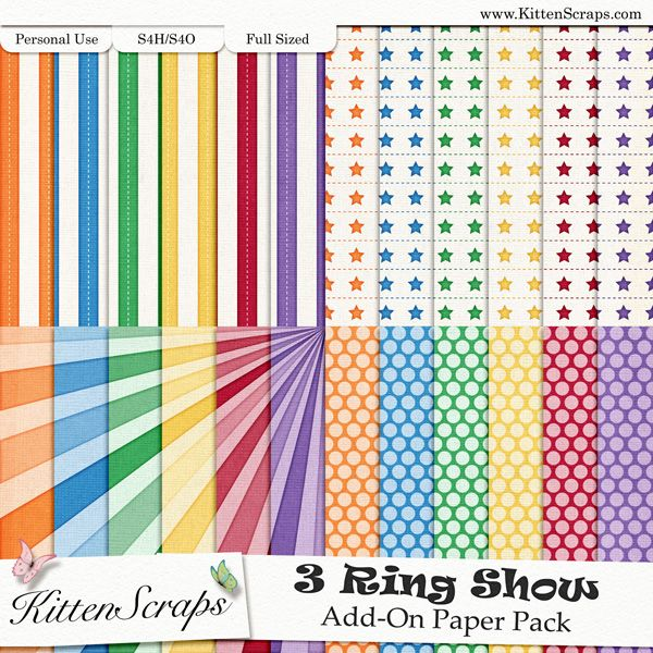 3 Ring Show Add-On Paper Pack KittenScraps, Digital Scrapbooking