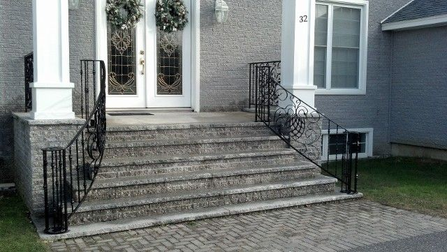 20 best images about railing ideas on pinterest metal - Exterior wrought iron handrails for steps ...