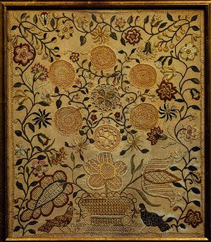 Embroidered sampler, 1795  Mary Jones (American)  Philadelphia, Pennsylvania  Silk and linen, with gold leaf, on linen    15 1/4 x 13 1/4 in. (38.74 x 33.66 cm)  Inscribed: Mary Jones / 1795  Gift of Barbara Schiff Sinauer, 1984 (1984.331.22)