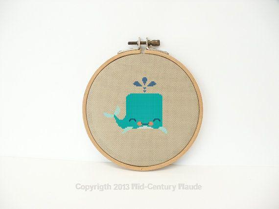 Whale Cross Stitch Pattern PDF Digital by MidCenturyMaude on Etsy, $5.00