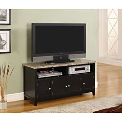@Overstock - This faux marble top and wood TV stand features 2 open top compartments and 4 doors. This furniture has cable management, brushed nickle handle pulls and accommodates most 50-inch televisions.http://www.overstock.com/Home-Garden/K-B-Dark-Black-Finish-TV-Stand/7080095/product.html?CID=214117 $185.99
