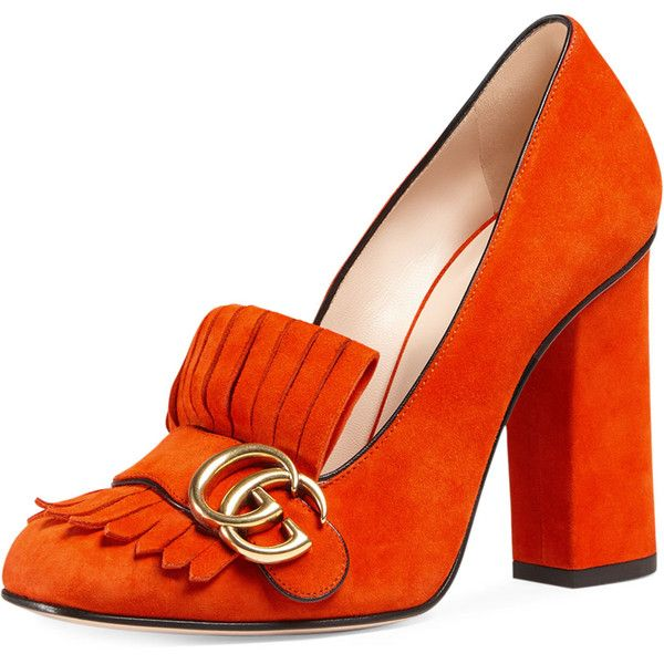 Gucci Marmont Fringe Suede 105mm Loafer found on Polyvore featuring shoes, loafers, heels, sun orange, loafer shoes, high-heel loafers, orange loafers, gucci loafers and strappy shoes