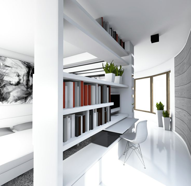W O R K I N G _ S P A C E                 -------   52m2 apartment with a cubic bedroom in the center. You can simply walk around the cube bedroom.