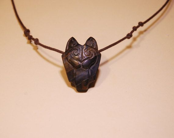 wolf necklace Tiger eye stone. by shamanstones on Etsy