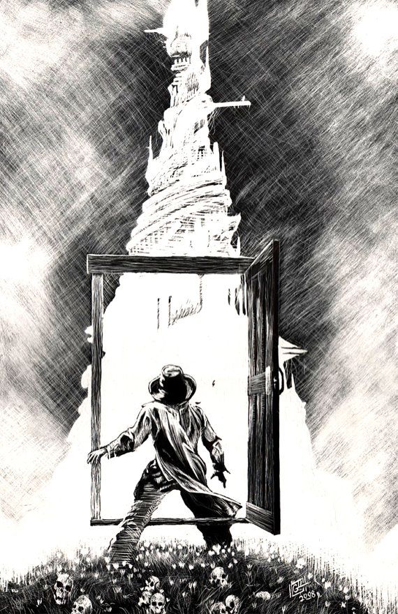 Dark and mysterious... Roland Approaches the Dark Tower... Stephan King artwork
