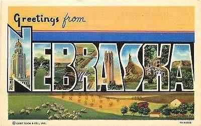 Nebraska NE 1939 Large Letter Greetings from Nebraska Antique Vintage Postcard