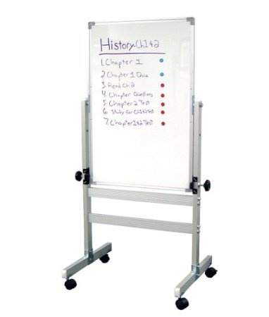 Double sided whiteboard on wheels