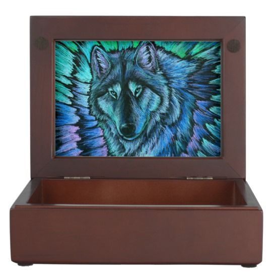 """Wolf Aurora keepsake box by Rebecca Wang on Zazzle.  These beautiful keepsake boxes are made from mahogany-colored wood and the interior is lined with black velvet fabric.  The design is printed in full color on both sides of the lid.  Measures 6.5"""" x 8.5"""" x 2.75"""".  Perfect for jewelry, watches, photos or other trinkets!"""