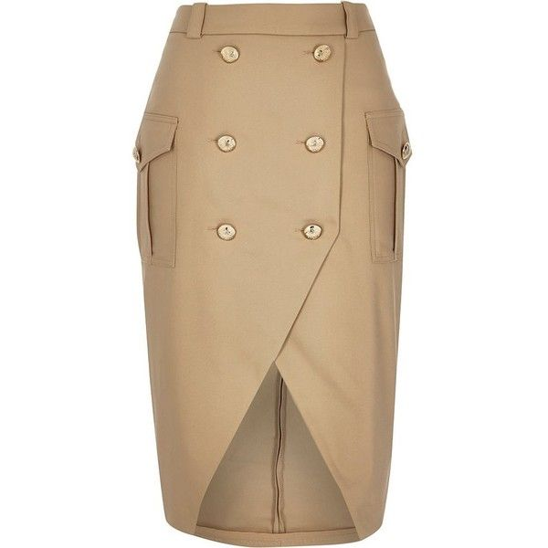 River Island Camel brown military button pencil skirt ($80) ❤ liked on Polyvore featuring skirts, bottoms, brown skirt, river island, tall skirts, camel skirt and knee length pencil skirt