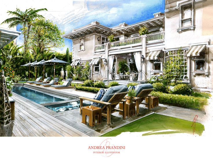 exterior illustration and visualization, watercolor illustration, handmade rendering - modern - Andrea Prandini