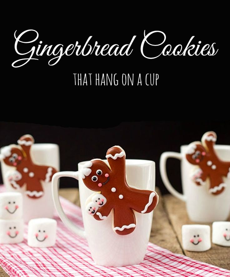 Gingerbread men coffee cup cookies are made from sugar cookies and decorated with royal icing. It is a cute way to serve cocoa and cookies to your guests.