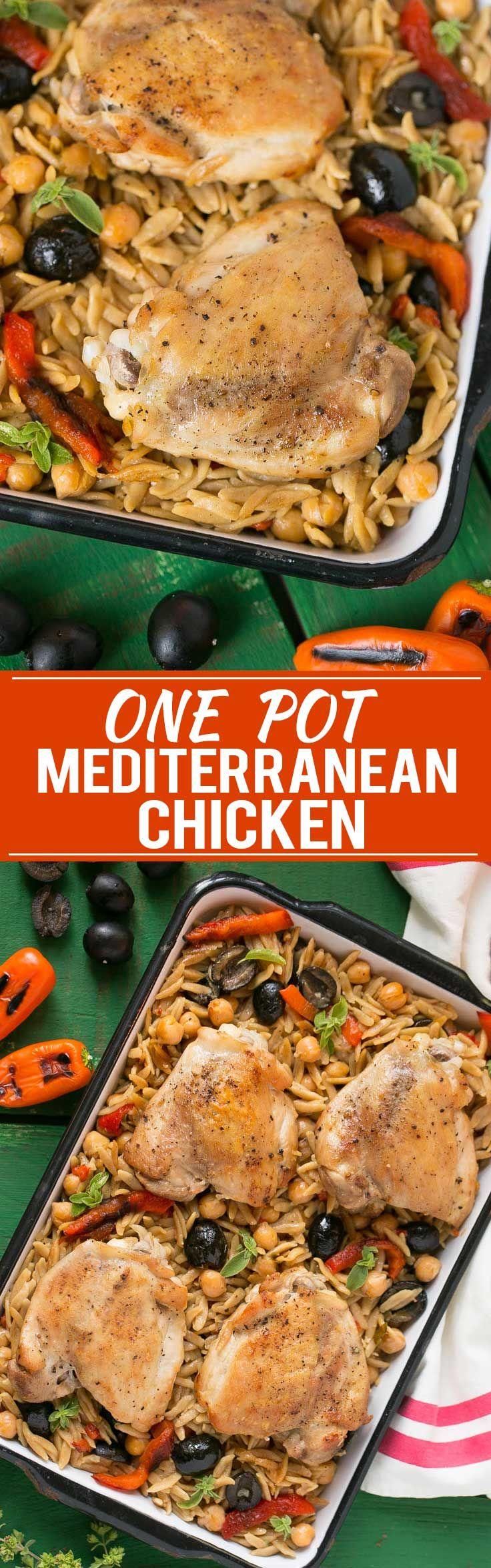 Este pollo mediterráneo con aceitunas y de Orzo es una comida sana que está hecho en una sola olla.  Anuncio