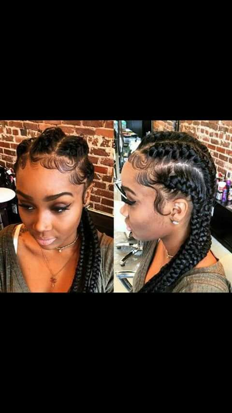 Straight to the back braids