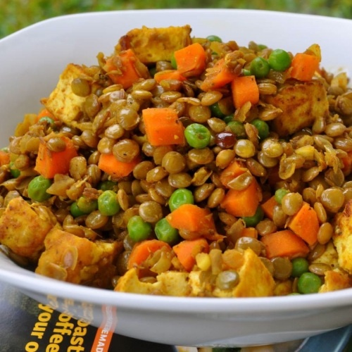 Lentils. Since we are not vegetarians, I would probably add chicken.