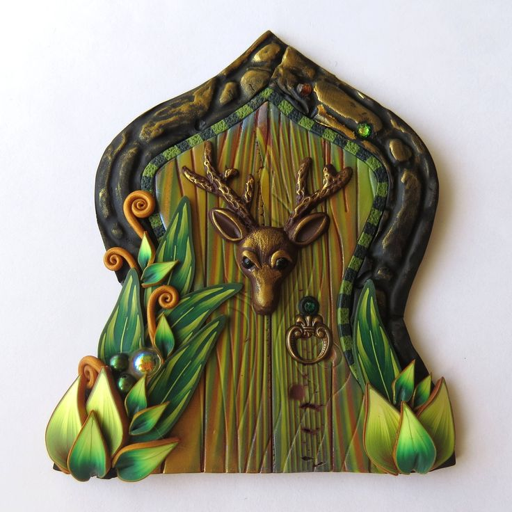 Stag Green Woods Fairy Door Polymer Clay Miniature Fairy Gardens and Home Decor by Claybykim on Etsy