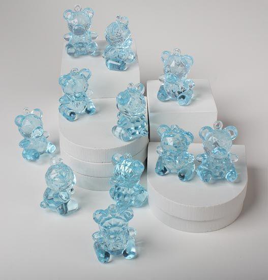 Teddy Bear Baby Shower Centerpieces | Blue Acrylic Baby Teddy Bear Favors - 12 Pcs