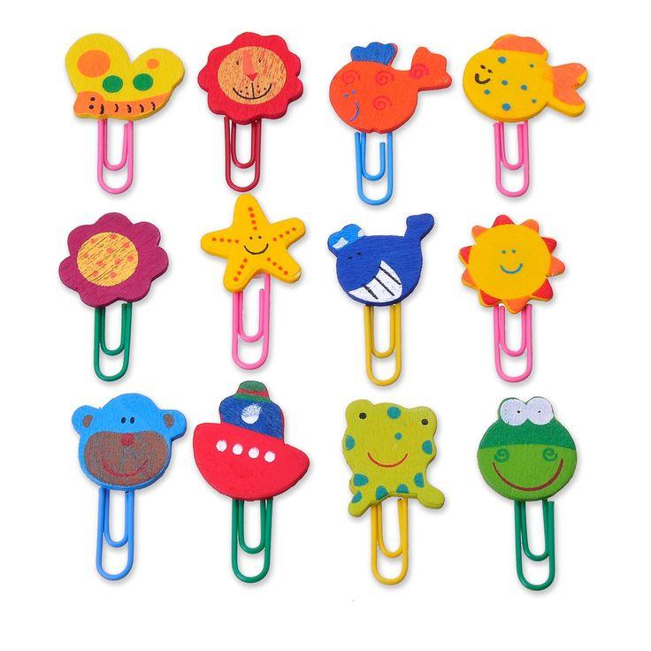 Η συσκευασία περιέχει 12 σελιδοδείκτες με ξύλινες φιγούρες - ζωάκια σε διάφορα χρώματα.    *ΠΡΟΣΟΧΗ! Δεν είναι κατάλληλο για παιδιά κάτω των 3 ετών.