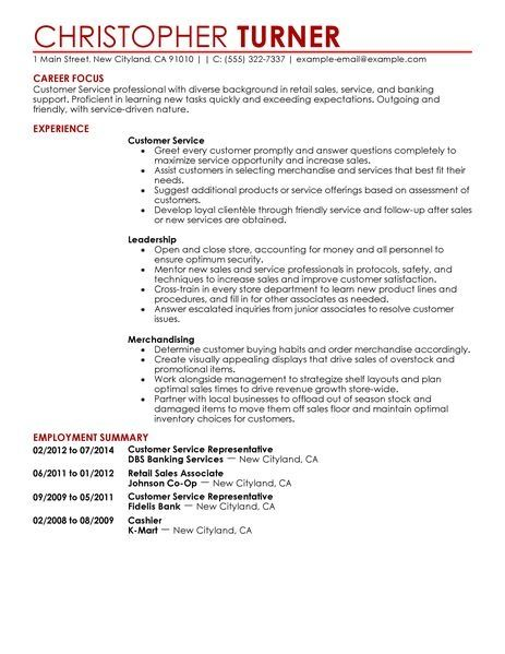 44 best Resume Samples images on Pinterest Resume, Writers and - resume templates for customer service