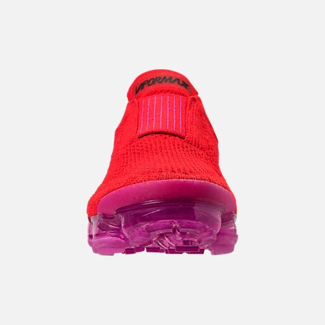 Front view of Women s Nike Air VaporMax Flyknit MOC 2 Running Shoes in University  Red Black Fuchsia Blast 3dc433b81