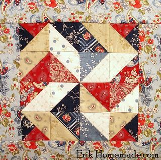 Benjamin Franklin Mystery Block 3. Half Square Triangles, find the fabric a bit busy - doesn't show to best advantage