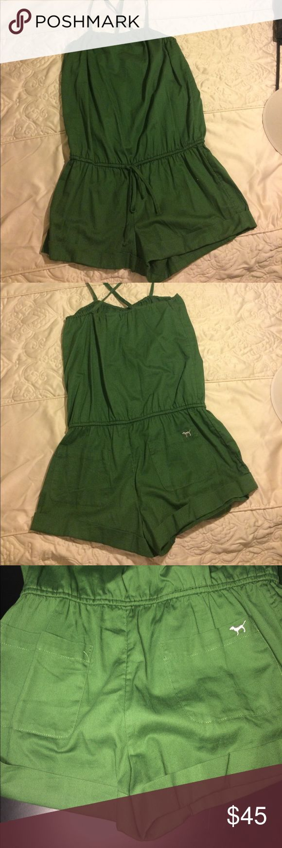 Victoria Secret Hunter Green Romper. Spring ready! Woman hunter green romper. Used once. Victoria secret logo on left butt cheek. Size XS. One piece. Can be wore with straight or crisscross straps. Adjustable elastic waist band. PINK Victoria's Secret Dresses