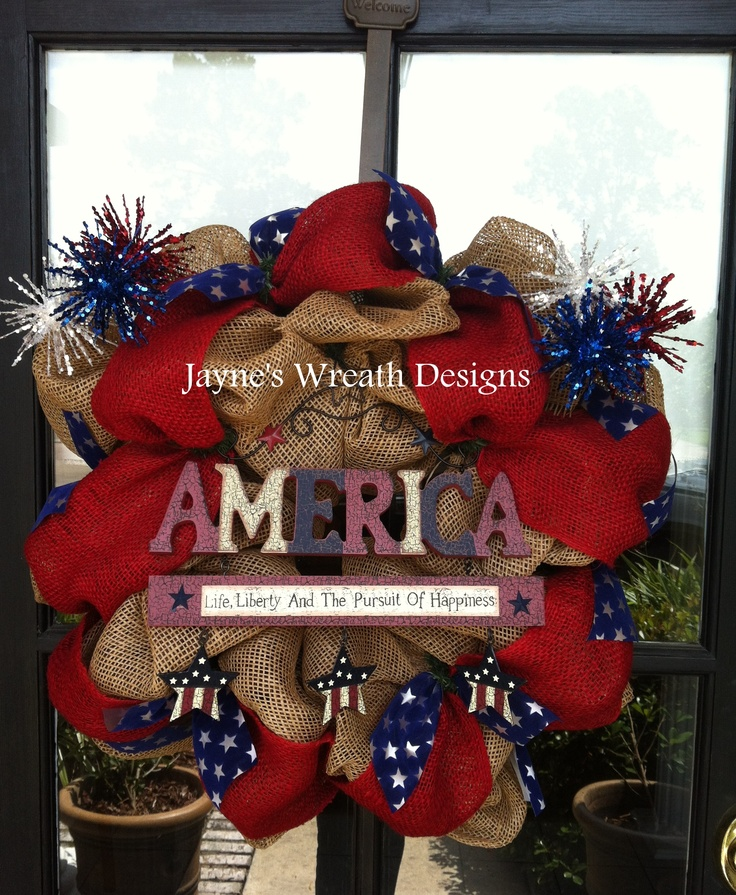 """4th of July, Memorial Day or all year long! Burlap Wreath with """"America"""" sign"""