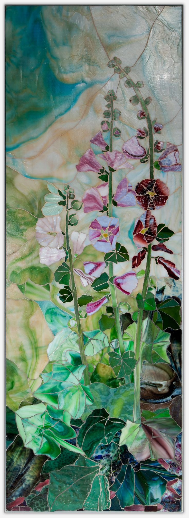 Glass Mosaic: Hollyhocks, 170cm by 61cm - by Rose Scherpenzeel                                                                                                                                                      More