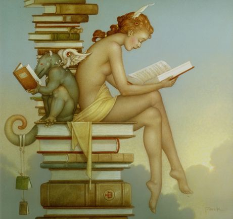 Art painting wonderful by Michael Parkes is an American-born magic realism artist specializing in fantasy painting, stone lithography and sculpture.