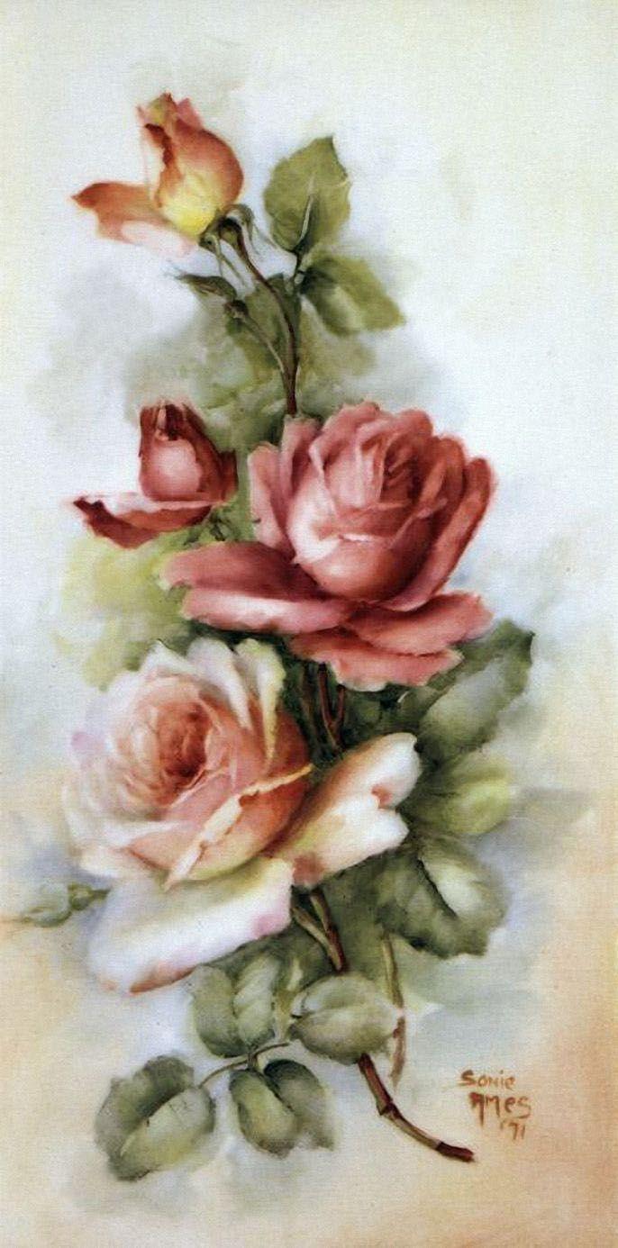 Belo trabalho da saudosa Sonie Ames, uma artista completa, sobretudo na pintura sobre porcelana.