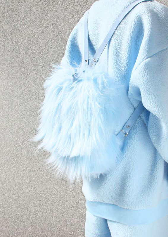 BABY BLUE FAUX FUR BACKPACK