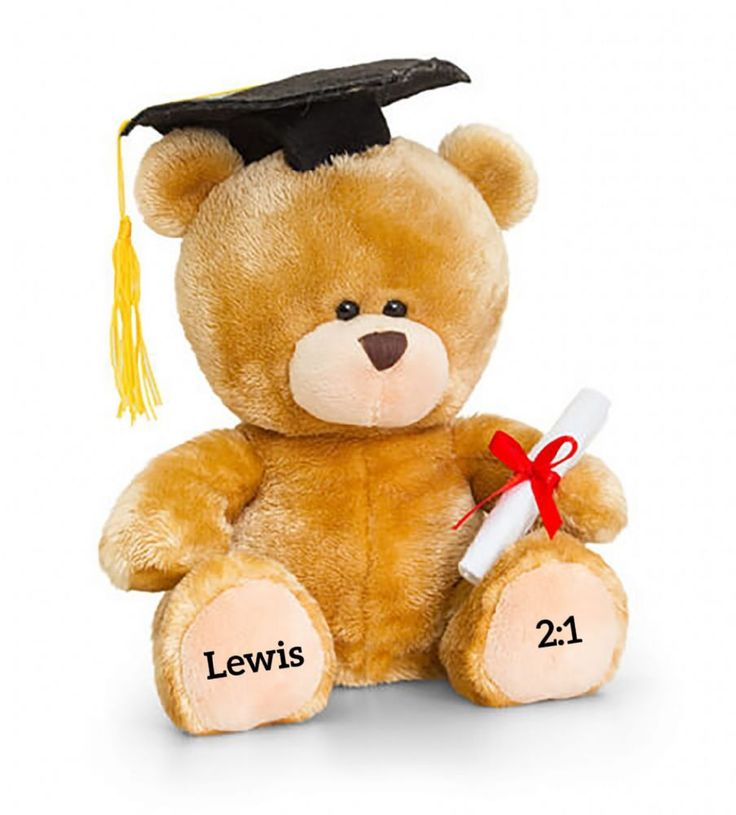This high quality 20cm sitting bear is the perfect gift for graduation Simply personalise each paw with a message of 15 characters to add a personal