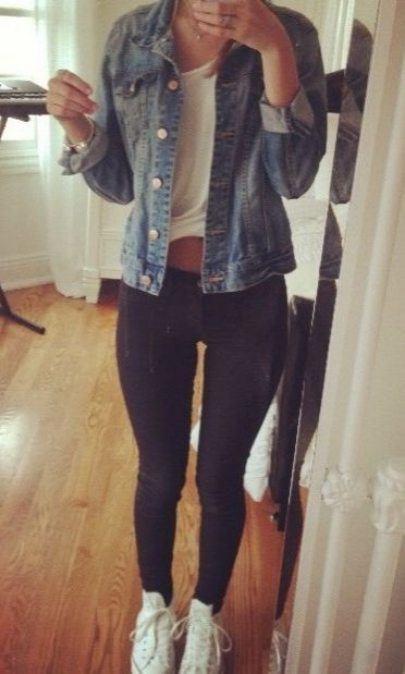 chilly cute denim jacket ootd                                                                                                                                                     More
