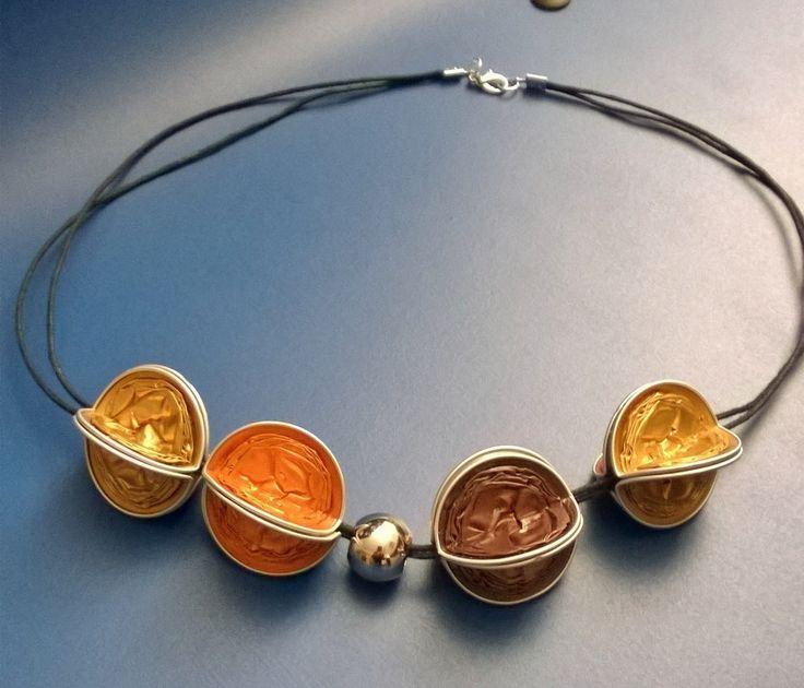 Collana con cialde Nespresso oro-arancio-marrone - by Lalussi