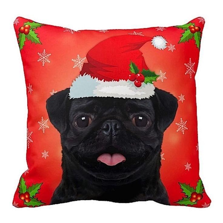 ileesh Pug Black in Santa Hat Christmas 16x16 Throw Pillow