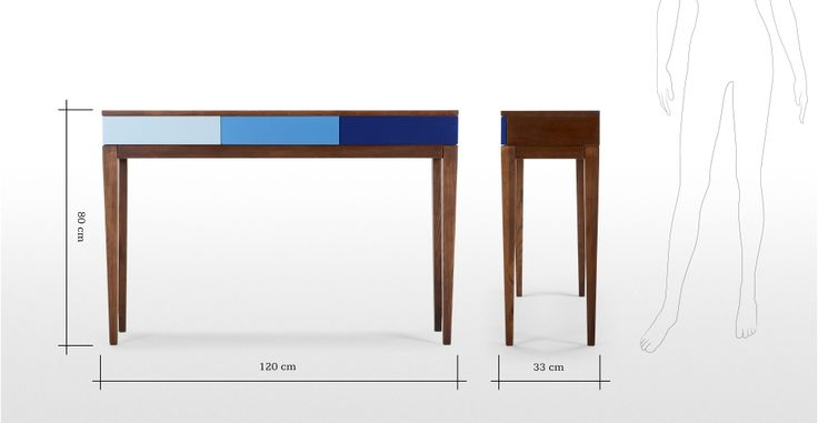 Vernay Console Desk in dark stain ash with multicolour blue | made.com