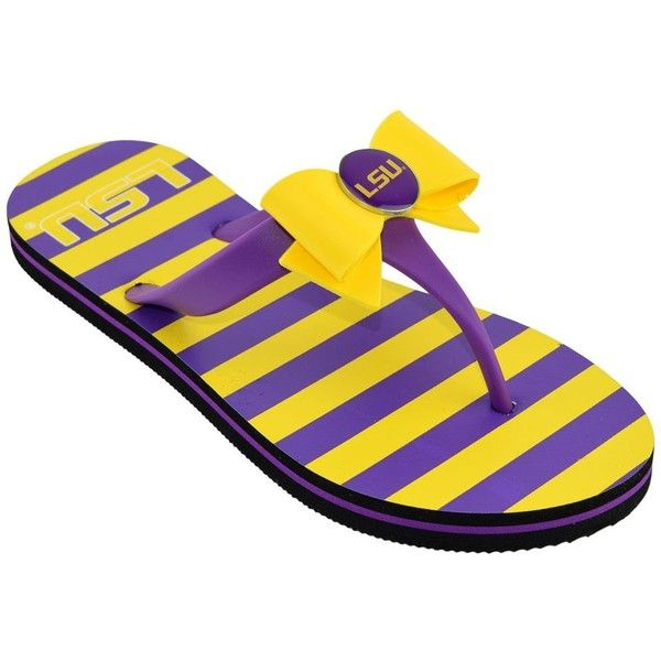 Women's College Edition LSU Tigers Bow Flip-Flops ($16) ❤ liked on Polyvore featuring shoes, sandals, flip flops, purple, cushioned shoes, flip shoes, cushioned sandals, cushioned flip flops and flip-flop sandals