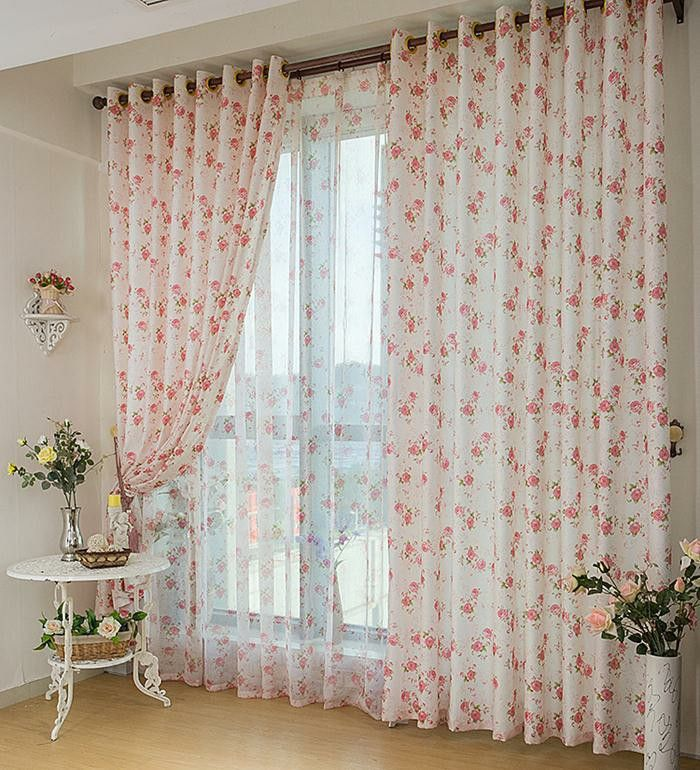 Country Style Curtains Delicate Rose Pattern Living Room