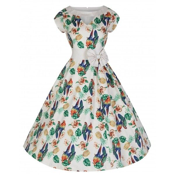 'Kelly' Vintage 50's Style Paradise Inspired Print Swing Dress ($39) ❤ liked on Polyvore featuring dresses, neutral, vintage white dress, vintage cocktail dress, white evening dresses, white skater skirt and holiday cocktail dresses